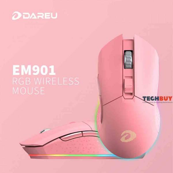 Chuột chơi game không dây Dareu EM901 Wireless Hồng
